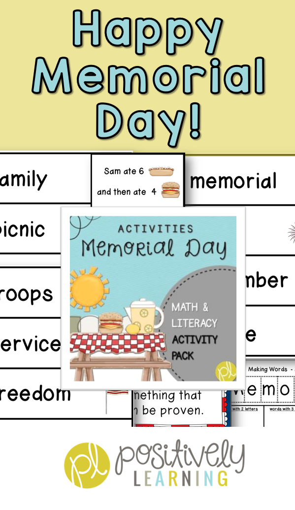 Memorial Day Activity Packet for kindergarten, first grade, and second grade. Math word problems, vocabulary cards, making words, and more from Positively Learning