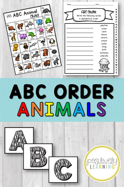 Alphabetical ABC Order Animals from Positively Learning
