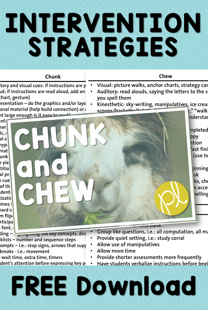 Chunk and Chew Diffferentiation Strategies for Intervention and Special education. Free download from Positively Learning Blog