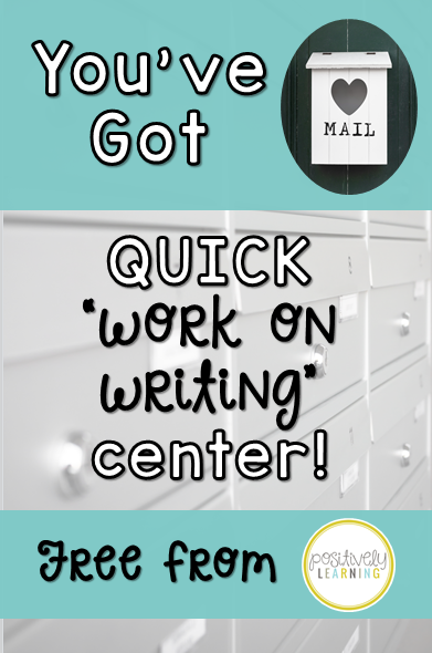 A free work on writing center you can set up today in your Guided Reading group rotations! From Positively Learning Blog