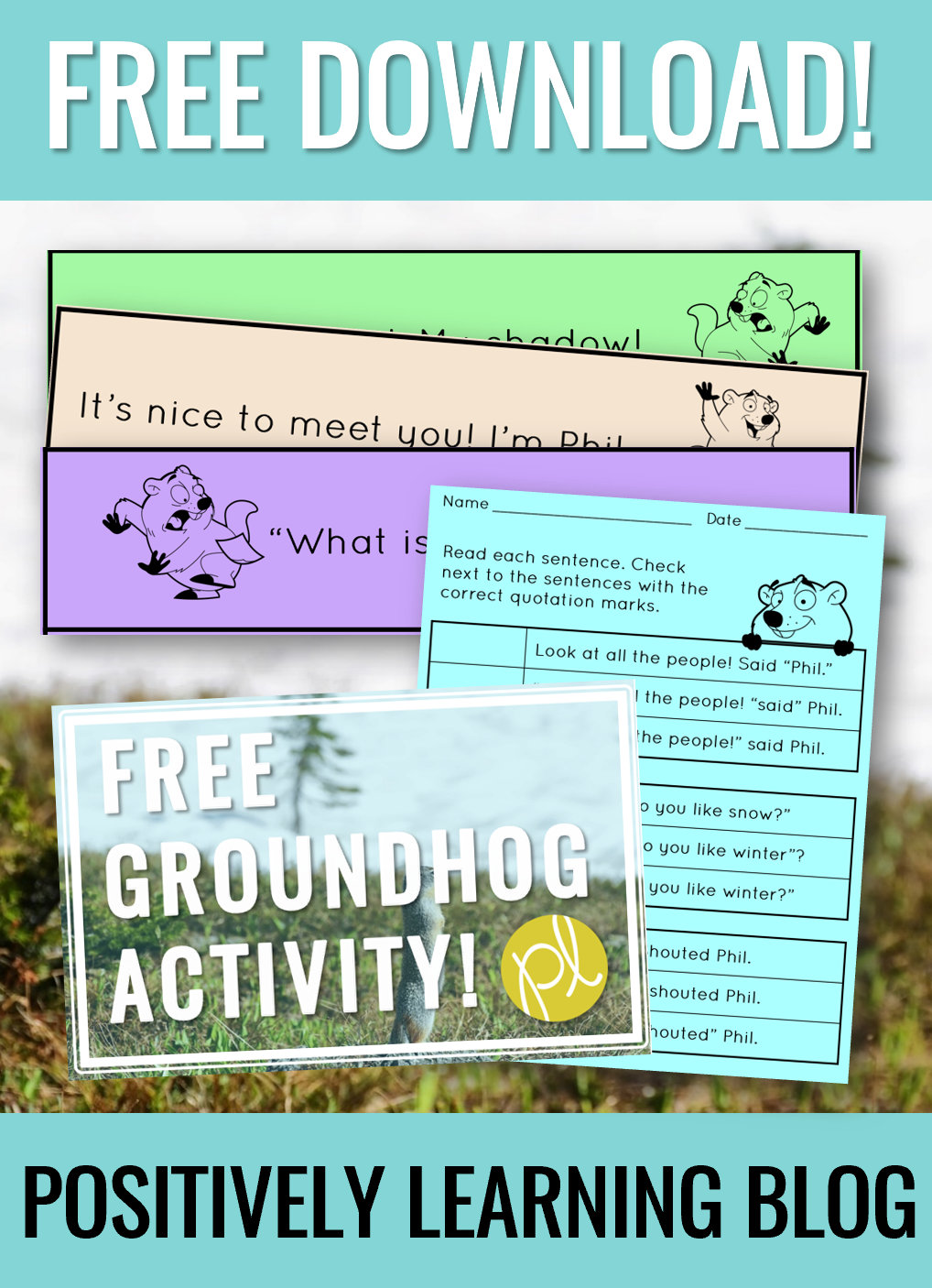 Grab this free Groundhog Day activity to use in a literacy center this February! Perfect for first grade or higher. From Positively Learning Blog