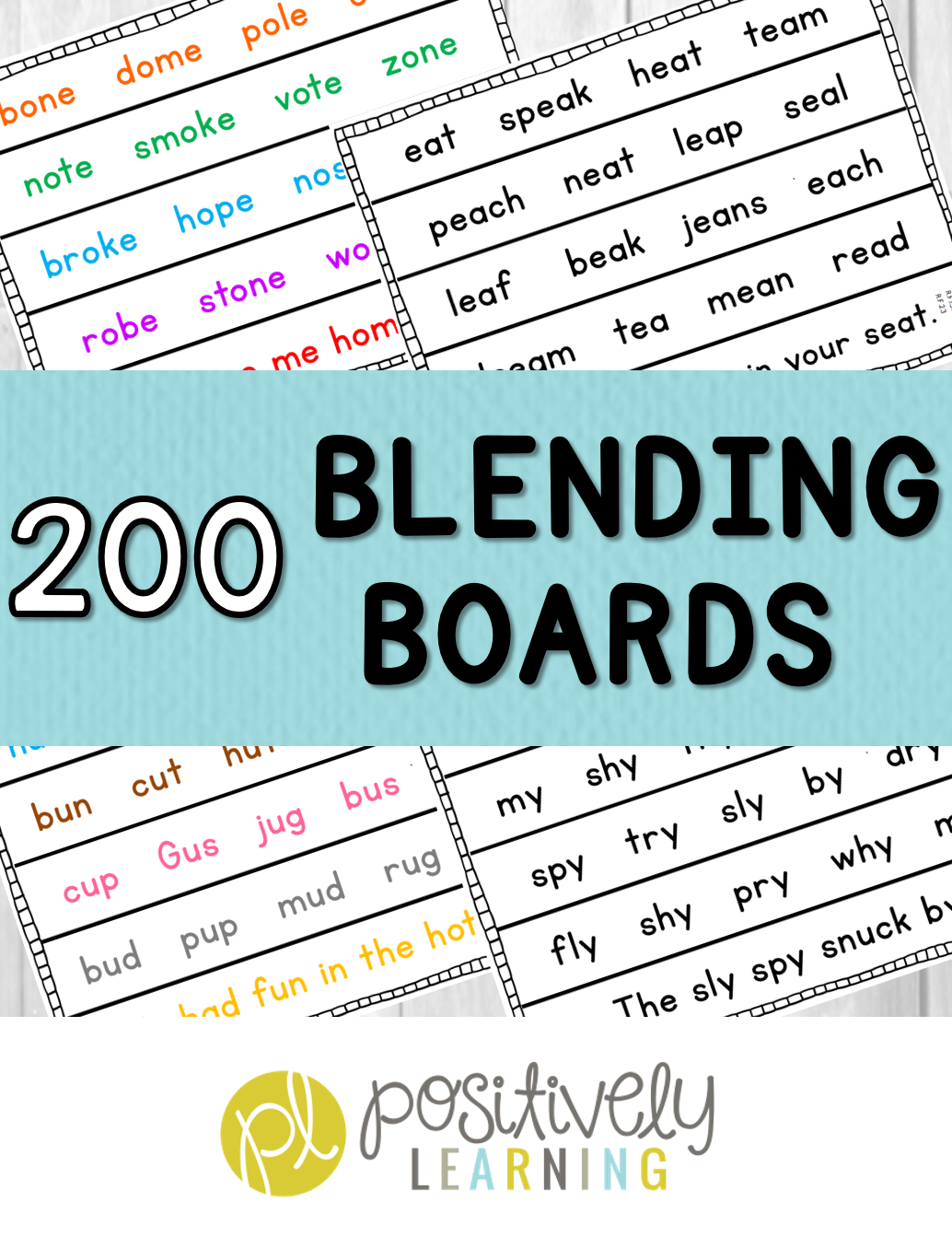 200 Blending Boards for phonics fluency! Follows K-2 Phonics scope and sequence. From Positively Learning