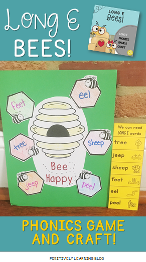 Phonics Game and Craft for Long E from Positively Learning