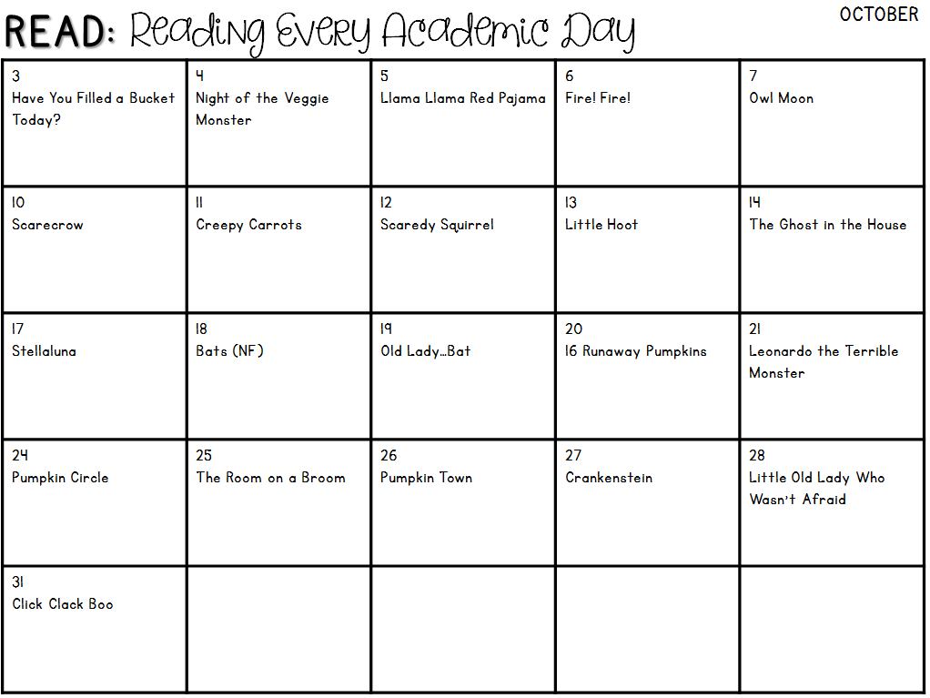 Positively Learning READ Everyday Calendar for October