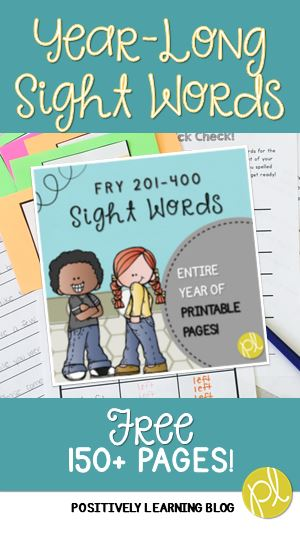 Positively Learning Blog Sight Word Printables