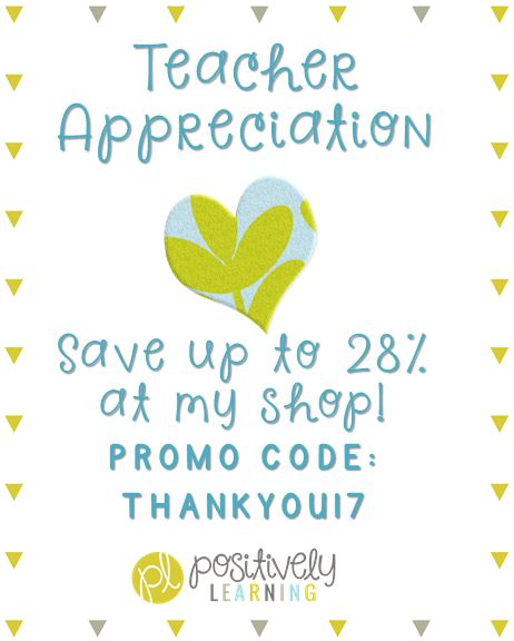 Positively Learning Blog Teacher Appreciation Sale!
