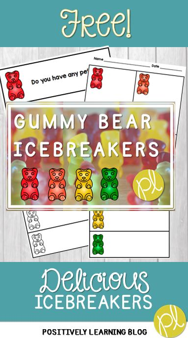 Free Gummy Bear Icebreaker activity for Back to School from Positively Learning Blog