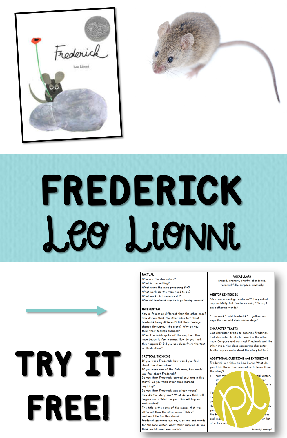 Grab this FREE one-page lesson plan for Frederick by Leo Lionni! From Positively Learning Blog #comprehension #leolionni #freelessons