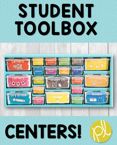 Student Toolbox Learning Centers- fine motor phonics all organized in one place!
