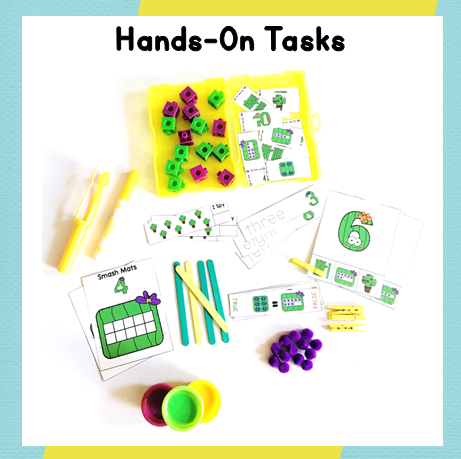Hands-on learning and task cards organized in the toolbox learning center! From Positively Learning