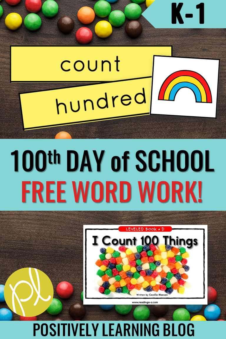 Happy 100th Day of School! Here's a free Guided Reading download for your word work centers and small groups. From Positively Learning Blog