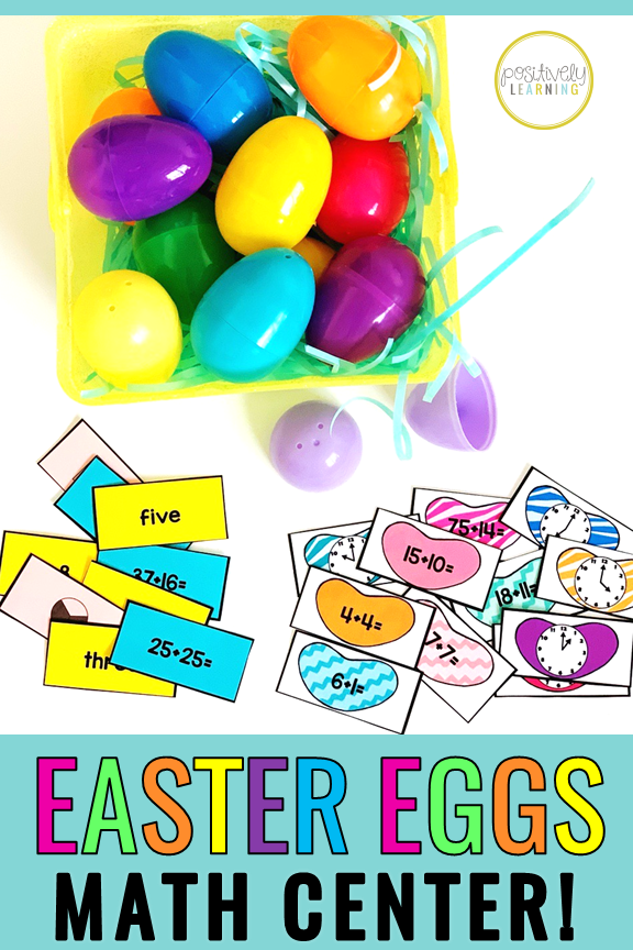 "Easter Egg Math Centers! Bring some ""eggstra eggcitement"" to your math centers this spring with these differentiated plastic egg inserts. Choose from over 200 math cards! From Positively Learning #eastermath"