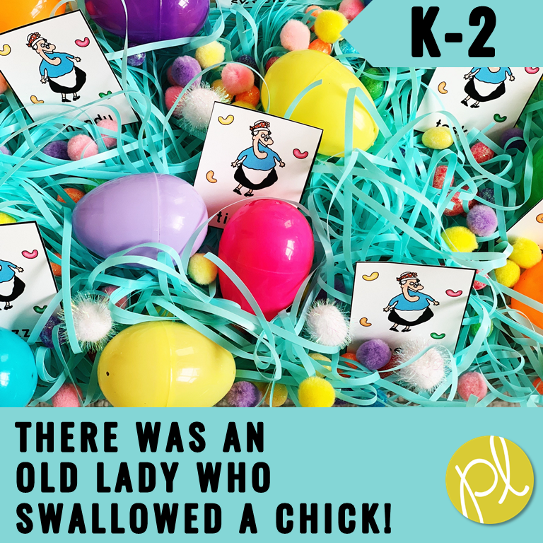 Easter Sensory Bin based on our favorite read aloud! There are task cards based on There Was An Old Lady Who Swallowed a Chick. From Positively Learning #eastereggs