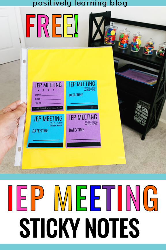 These free meeting sticky notes will help keep everyone organized for the next IEP Meeting! From Positively Learning #stickynotes #iepmeetings