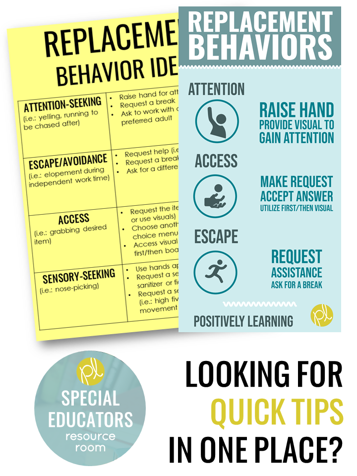 Behavior support quick tips! Download this free chart on replacement behaviors from Positively Learning Blog #replacementbehaviors #specialeducation