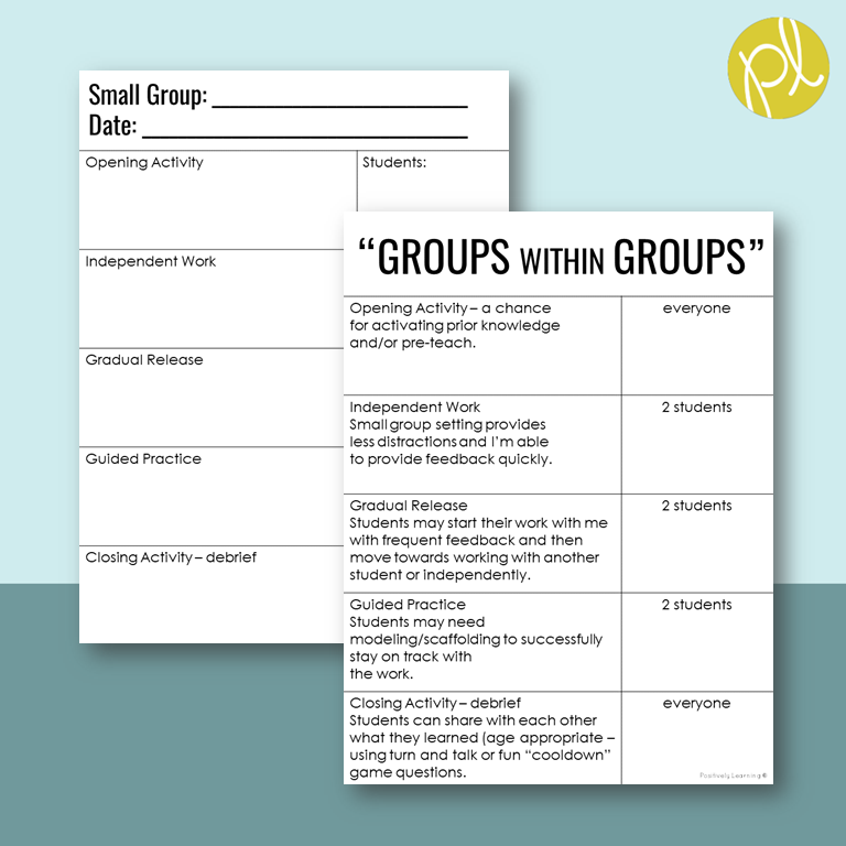 Small Group Solutions! Download this free lesson planning page for your next small group. From Positively Learning Blog #lessonplanning #lessonplans #smallgroups
