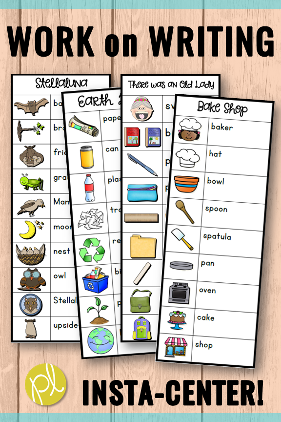 Quick and easy writing center for K-2 early writers - just print! Sixty word bank lists featuring favorite characters and topics from Positively Learning Blog #writinglists #writingcenter #workonwriting