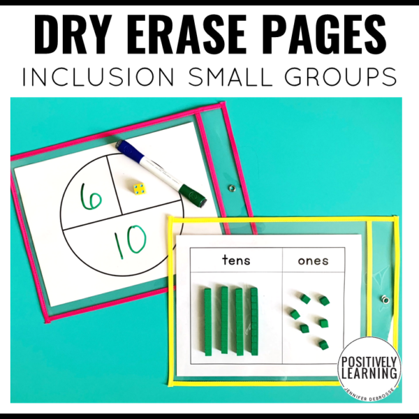 Use these dry erase learning mats with your inclusion small groups in reading and early math. From Positively Learning Blog #dryerasesleeves #inclusion #smallgroups