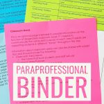 Paraprofessional Training Binder